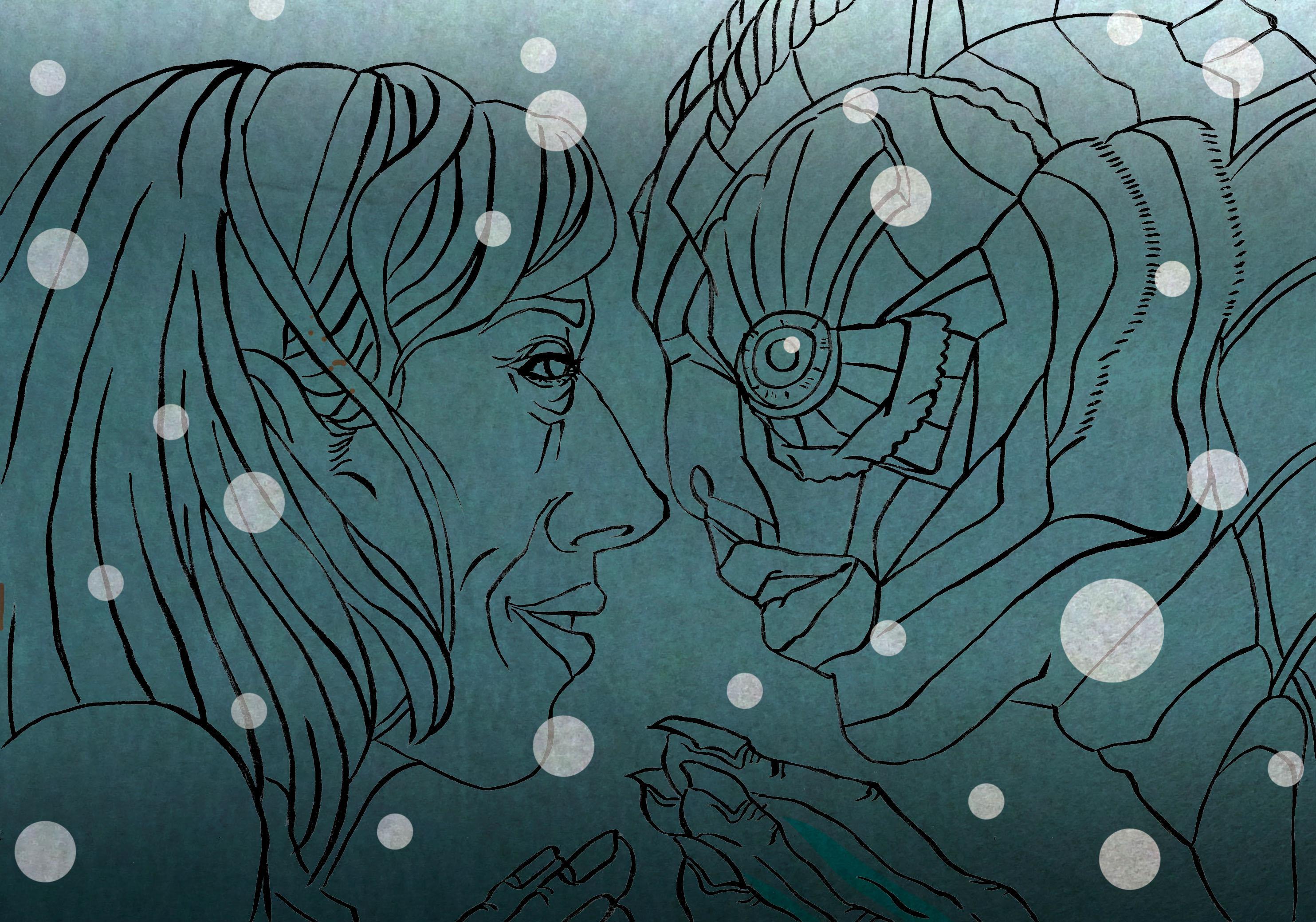 映画 シェイプ・オブ・ウォーター  浮世絵風 和風 かっこいい 日本風 イラストレーター 筆ペン 似顔絵 Kenji Iwasaki 岩崎健児