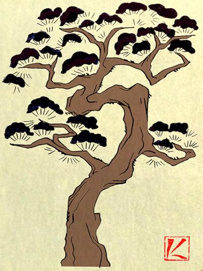 『松・松の木』 和風・浮世絵風イラスト 描き方 Kenji Iwasaki 岩崎健児