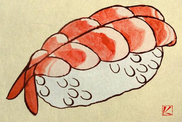 『寿司』 和風・浮世絵風イラスト 描き方 Kenji Iwasaki 岩崎健児