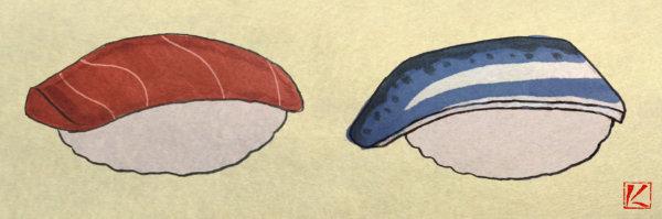 米粒無しのバージョンもご参考にしてみてください。 『寿司』 和風・浮世絵風イラスト 描き方 Kenji Iwasaki 岩崎健児
