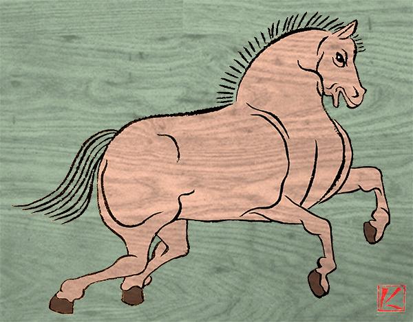 馬の和風浮世絵風イラストの描き方3ステップ 似顔絵映画浮世絵師