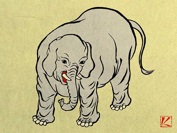 和風 浮世絵 イラスト 象 描き方 Kenji Iwasaki 岩崎健児 筆ペン かわいい