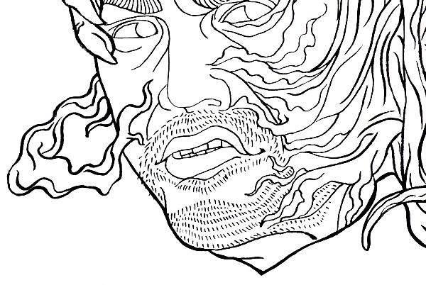 映画 ヴェノム 浮世絵 浮世絵風イラスト かっこいい 日本風 イラストレーター 筆ペン イラスト Kenji iwasaki  岩崎健児 venom ukiyoe