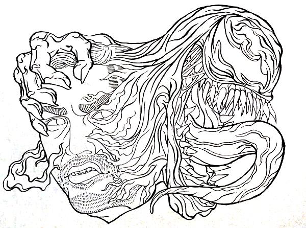 映画 ヴェノム 浮世絵 浮世絵風イラスト イラスト かっこいい 日本風 イラストレーター 筆ペン Kenji iwasaki  岩崎健児 venom ukiyoe