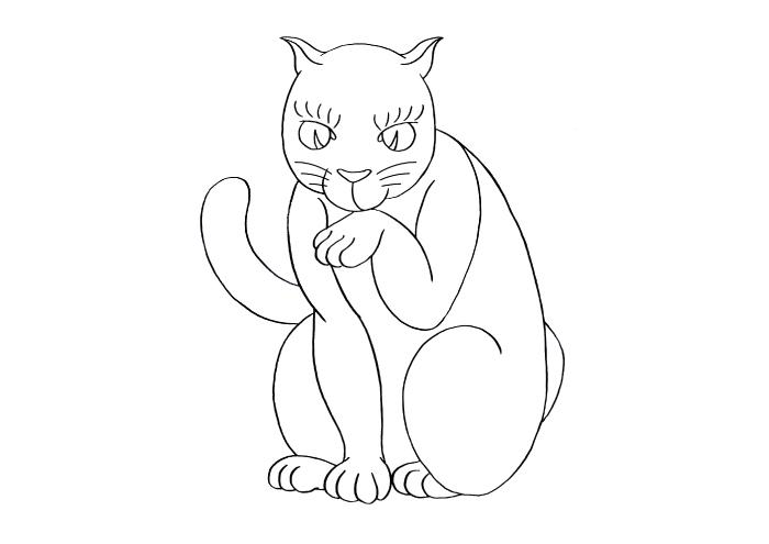和風 浮世絵 浮世絵風 イラスト 猫 描き方 書き方 Kenji Iwasaki 岩崎健児 筆ペン かわいい 簡単 コツ フリーランス イラストレーター