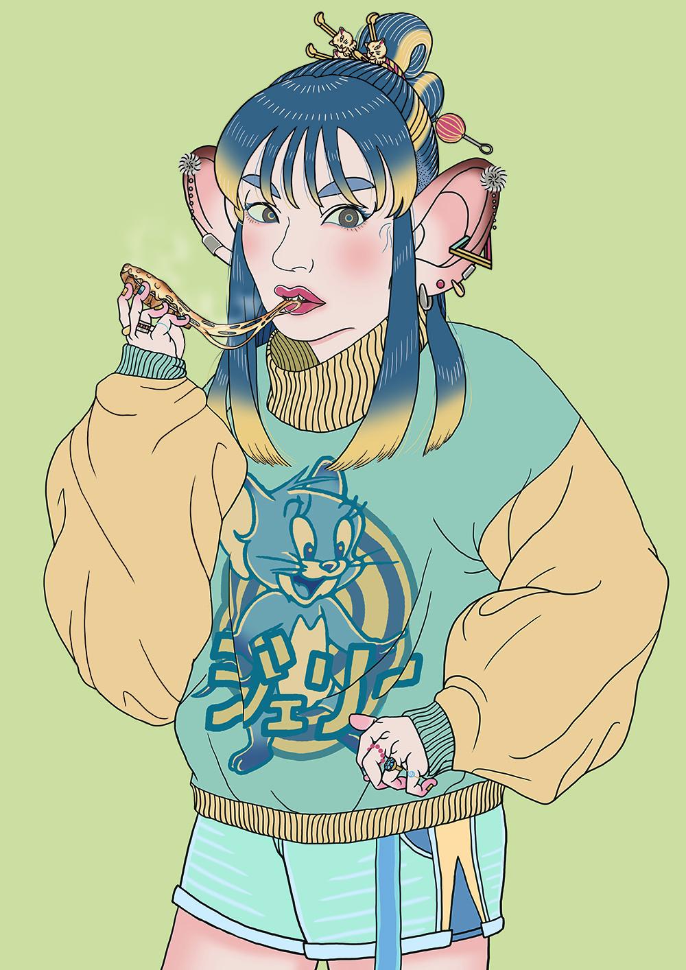 ねずみ 擬人化 女の子 かわいい キャラクター イラスト イラストレーター 絵 ねずみ年